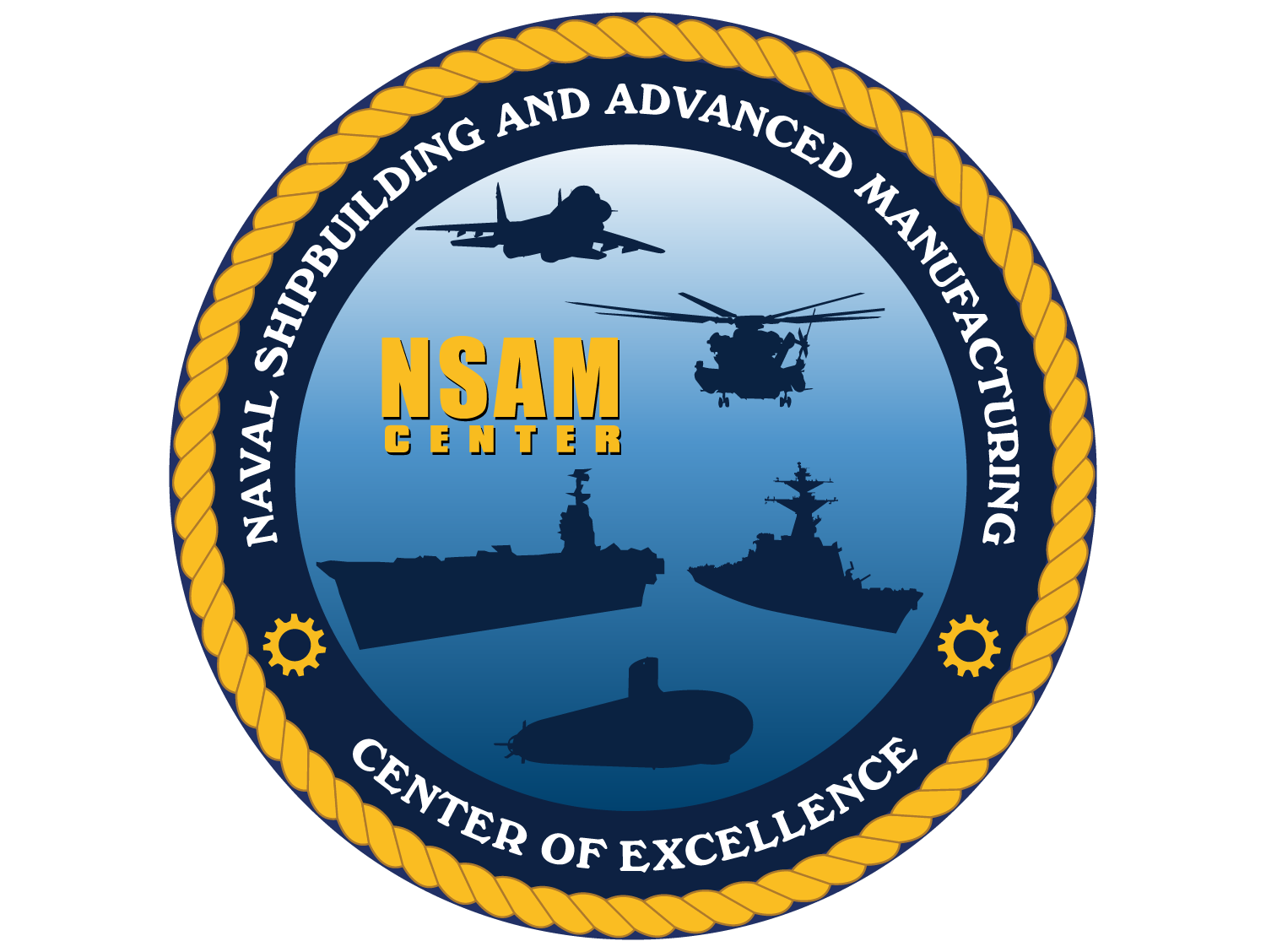 Naval shipbuilding and advanced manufacturing center of excellence logo